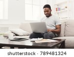 young happy black man chatting... | Shutterstock . vector #789481324