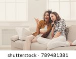 smiling young women relaxing... | Shutterstock . vector #789481381