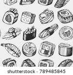 seamless pattern with hand... | Shutterstock .eps vector #789485845