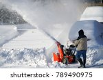 man removing snow on the... | Shutterstock . vector #789490975