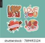 set of contemporary girlie love ...   Shutterstock .eps vector #789492124