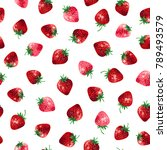 pattern of the strawberry  | Shutterstock .eps vector #789493579