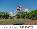 fit attractive girl dancing... | Shutterstock . vector #789506029