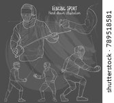 illustration of fencing sport.... | Shutterstock .eps vector #789518581