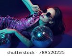 sexy disco party woman.... | Shutterstock . vector #789520225