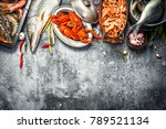 different fresh seafood. on a... | Shutterstock . vector #789521134