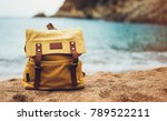hipster hiker tourist yellow... | Shutterstock . vector #789522211