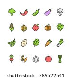 vegetables food color thin line ... | Shutterstock . vector #789522541