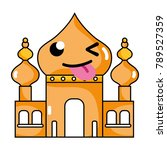 funny taj mahal kawaii cartoon | Shutterstock .eps vector #789527359