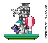 leaning tower of pisa with air...   Shutterstock .eps vector #789527905