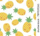 pineapple on white background.... | Shutterstock .eps vector #789535261
