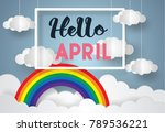 hello april greetings concept.... | Shutterstock .eps vector #789536221