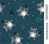 cute raccoon pattern design as