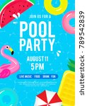 Pool Party Invitation Vector...