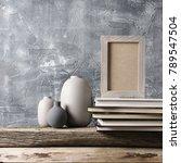 neutral colored vases  shabby... | Shutterstock . vector #789547504