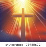 An awesome dramatic Christian cross bathed in light - stock photo