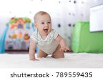 crawling funny baby boy in... | Shutterstock . vector #789559435