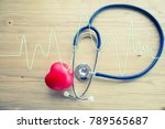 red rubber heart and... | Shutterstock . vector #789565687
