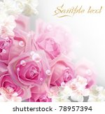 Stock photo card with roses and bubbles 78957394