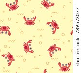 seamless pattern with crabs on... | Shutterstock .eps vector #789578077