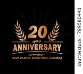 20 years anniversary logo.... | Shutterstock .eps vector #789580441
