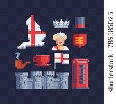 british theme. pixel art icons... | Shutterstock .eps vector #789585025