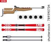 set of biathlon sport. rifle... | Shutterstock .eps vector #789590734