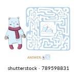 children's maze with polar bear ... | Shutterstock .eps vector #789598831