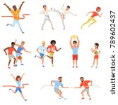 flat sports people taking part... | Shutterstock .eps vector #789602437