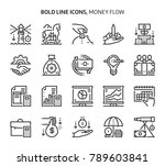 money flow  bold line icons....   Shutterstock .eps vector #789603841