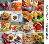 collage of different tasty... | Shutterstock . vector #789604249
