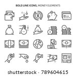 money elements  bold line icons.... | Shutterstock .eps vector #789604615