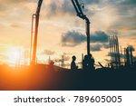 silhouette construction... | Shutterstock . vector #789605005