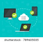 cloud network connection... | Shutterstock .eps vector #789605035