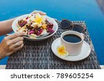 breakfast made of fruit plate... | Shutterstock . vector #789605254