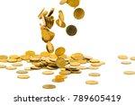falling gold coins money... | Shutterstock . vector #789605419