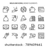 money elements  bold line icons.... | Shutterstock .eps vector #789609661