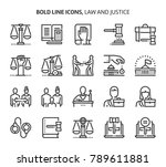 law and justice  bold line... | Shutterstock .eps vector #789611881