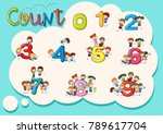 counting numbers one to nine... | Shutterstock .eps vector #789617704