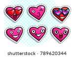 set of heart icons on white...