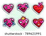 set of heart icons on white... | Shutterstock .eps vector #789621991