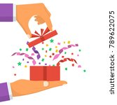 open gift with serpentine and... | Shutterstock .eps vector #789622075