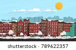 vector art frozen city scene.... | Shutterstock .eps vector #789622357