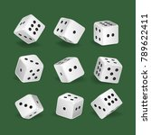 set of realistic white dice....   Shutterstock .eps vector #789622411