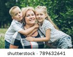 grandmother playing in the park ... | Shutterstock . vector #789632641
