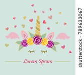 cute vector illustration with... | Shutterstock .eps vector #789633067