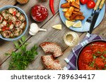 dining table with meatballs in... | Shutterstock . vector #789634417