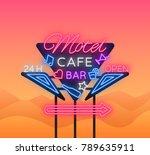motel is a light billboard.... | Shutterstock .eps vector #789635911
