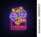 casino is a neon sign. neon...   Shutterstock .eps vector #789635917