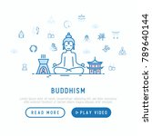 buddhism concept with thin line ... | Shutterstock .eps vector #789640144